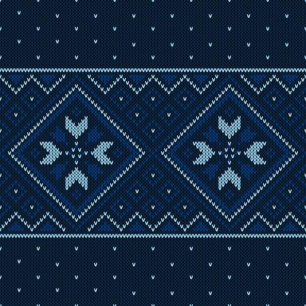 Christmas knitted pattern. winter geometric seamless pattern. Premium Vector