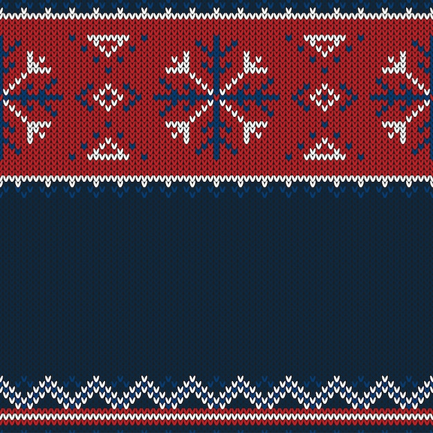 Christmas knitted pattern. Premium Vector