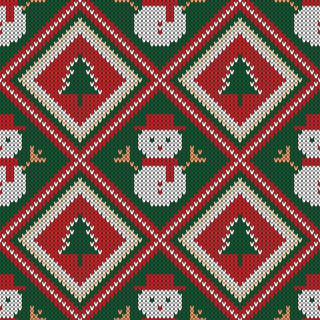 Christmas knitted seamless pattern. Premium Vector