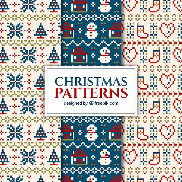 Christmas Knitting Patterns Vector Free Download