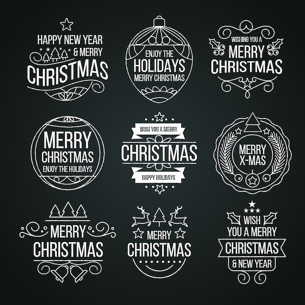 Christmas label collection on blackboard Free Vector
