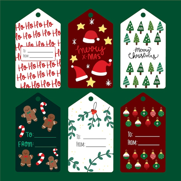 Collezione di etichette natalizie in design piatto Vettore gratuito