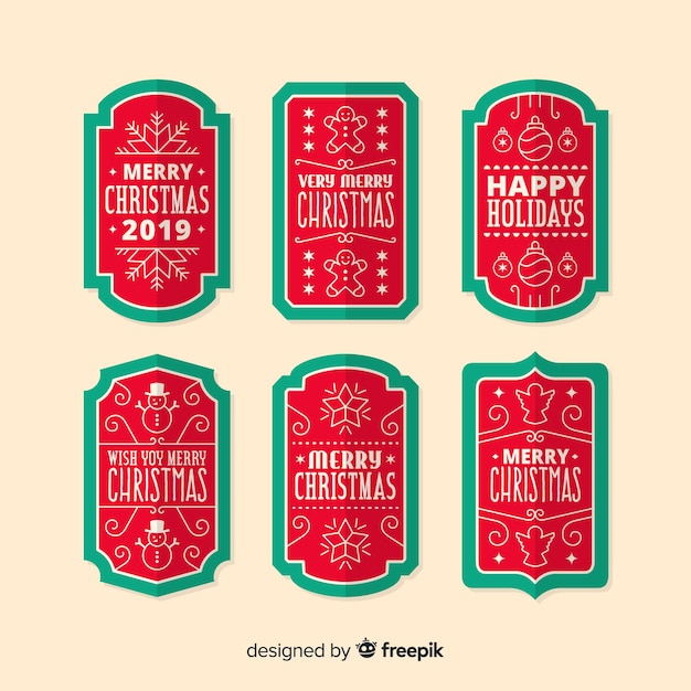 フラットなデザインのクリスマスラベルコレクション 無料ベクター