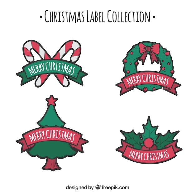 Christmas label collection with green elements