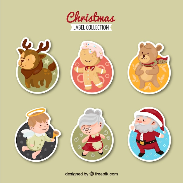 Christmas label collection with main christmas characters Free Vector