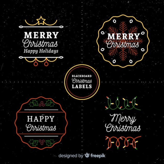 Christmas label collection Free Vector