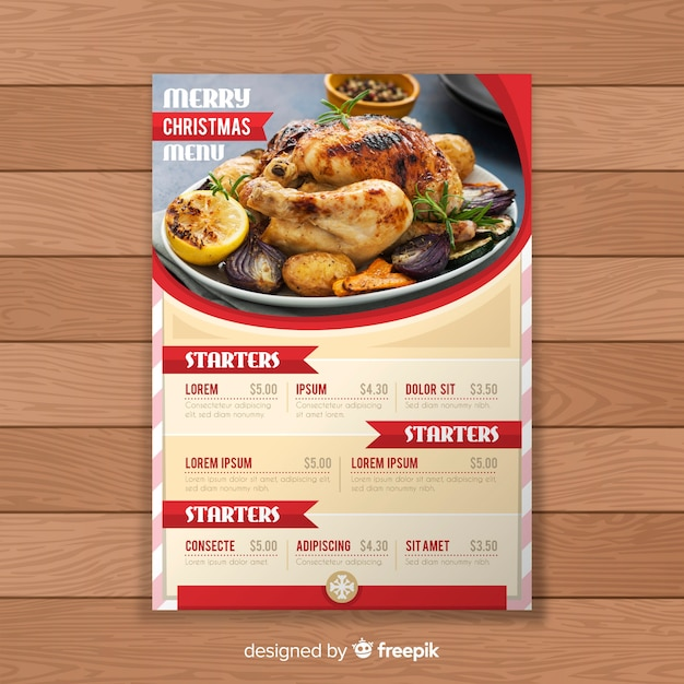 Christmas Label Menu Template Vector Free Download