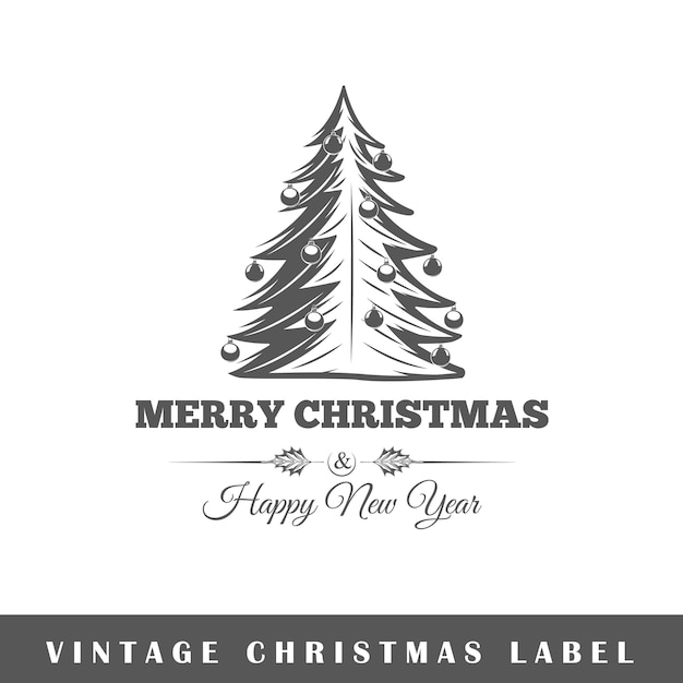 Christmas label  on white background.  element. template for logo, signage, branding .  illustration Premium Vector