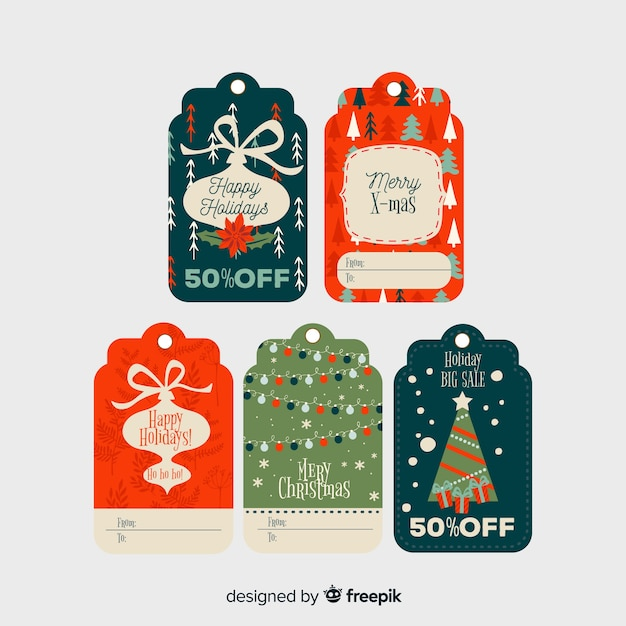 フラットなデザインのクリスマスlabelcollection 無料ベクター