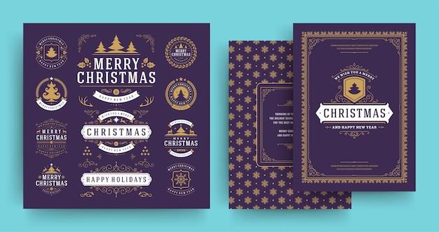 グリーティングカードテンプレートで設定されたクリスマスのラベルとバッジのデザイン要素 Premiumベクター