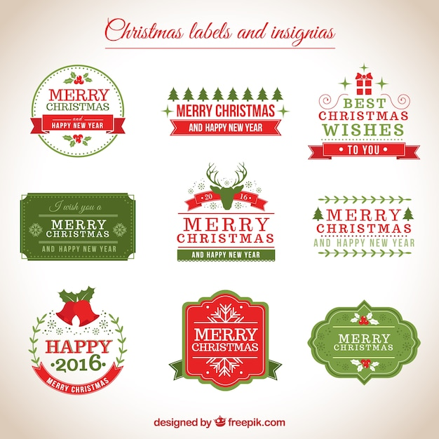 christmas labels and insignias vector free download