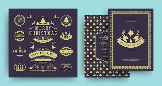Christmas labels and badges elements set with greeting card template. Premium Vector
