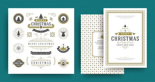 Christmas labels and badges vector design elements set with greeting card template. Premium Vector