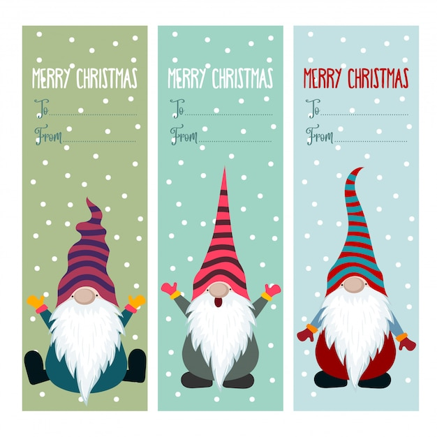 Christmas labels collection with gnomes Premium Vector