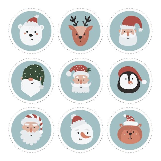 Коллекция рождественских этикеток со снеговиком, гномом, санта-клаусом и лесными животными. шаблоны для печати открыток. Premium векторы