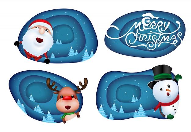 Christmas labels design Premium Vector