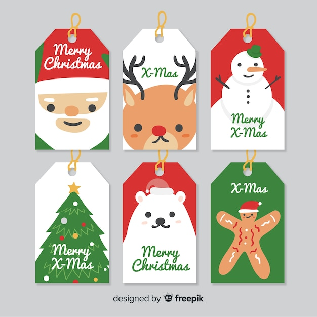 christmas labels plain characters collection vector free download