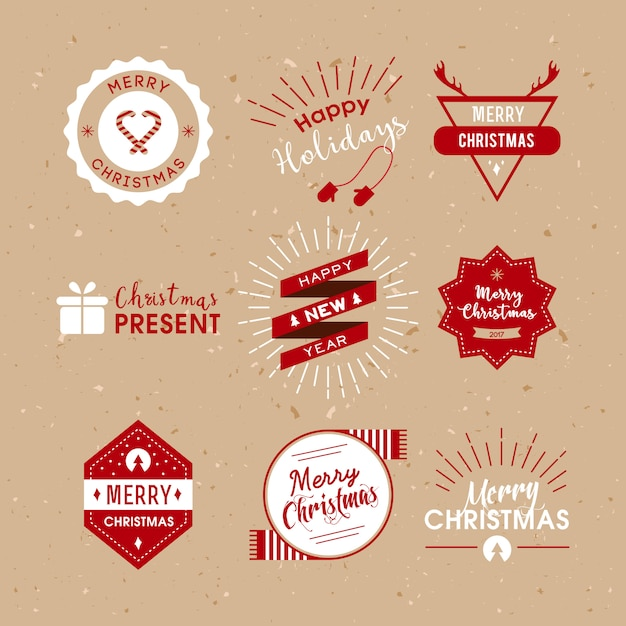 Christmas labels retro style. Free Vector