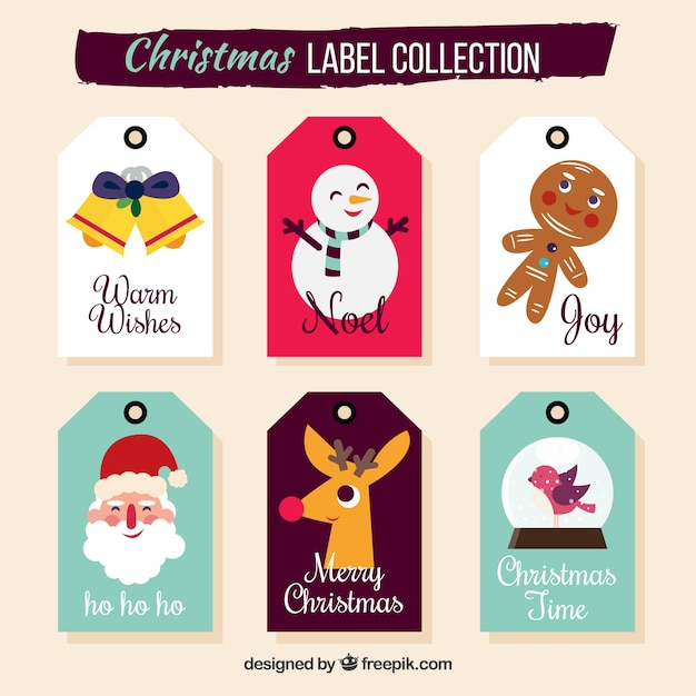 Christmas labels with funny style Free Vector