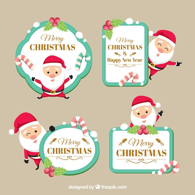 Merry Christmas Labels.Christmas Labels With Lovely Santa Claus Vector Free Download