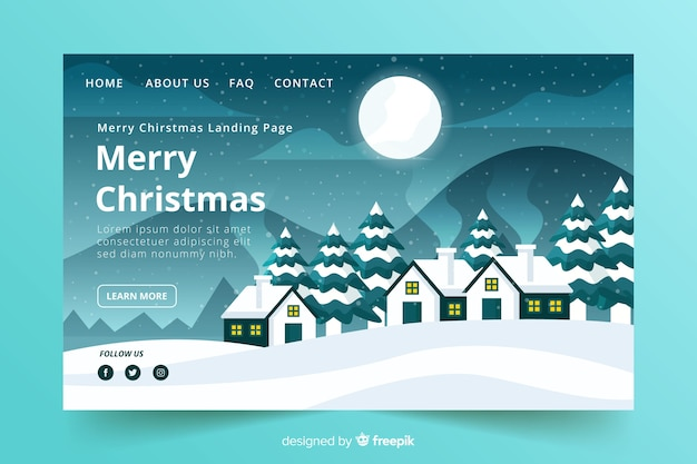Christmas landing page flat design style Free Vector