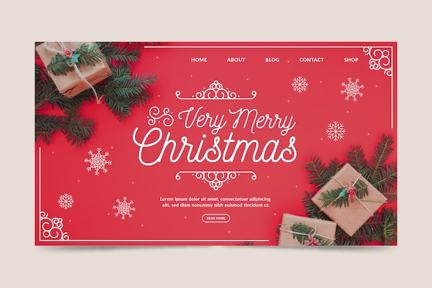 Christmas landing page template with photo Free Vector