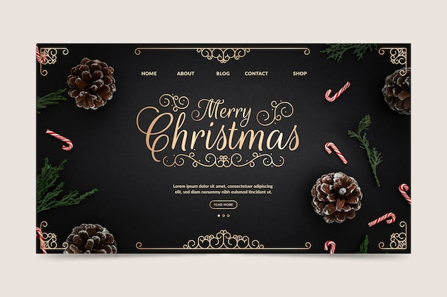 Christmas landing page template Free Vector