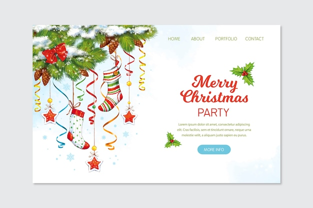 Christmas landing page in watercolor Free Vector