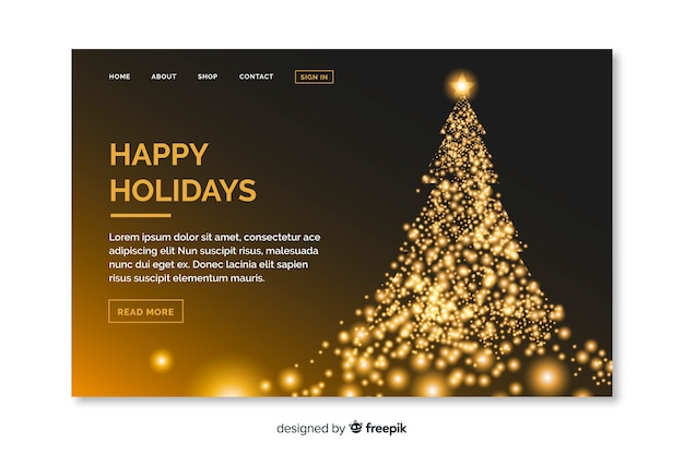 Christmas landing page with beautiful tree Free Vector