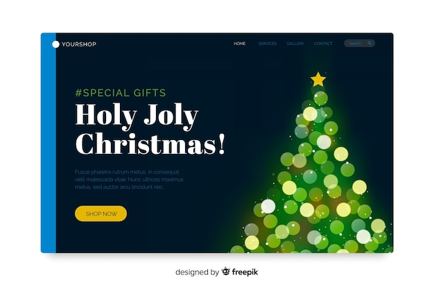 Christmas landing page with bokeh effect Free Vector