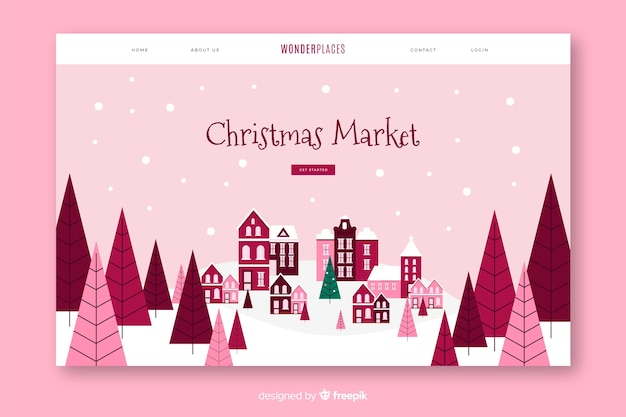Christmas landing page with flat design Free Vector