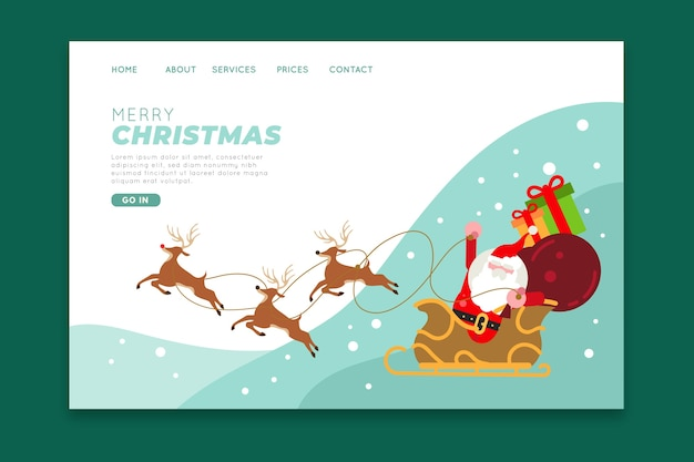 Christmas landing page with santa Free Vector