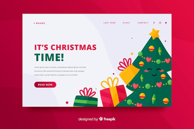 Christmas landing page with tree and presents Free Vector