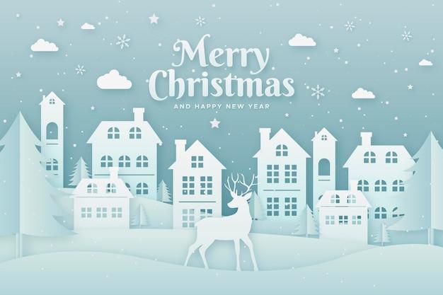 Рождественский пейзажный фон в бумажном стиле Premium векторы