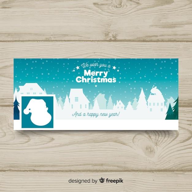 Christmas landscape design facebook cover Free Vector