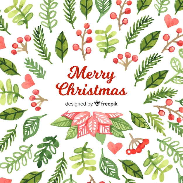Christmas Leaves.Christmas Leaves In Watercolor Style Vector Free Download