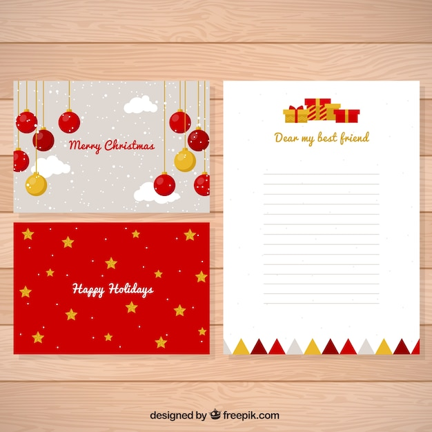 Christmas letter and cards with nice decoration