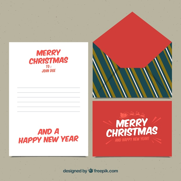 christmas letter and envelope template with stripes vector free