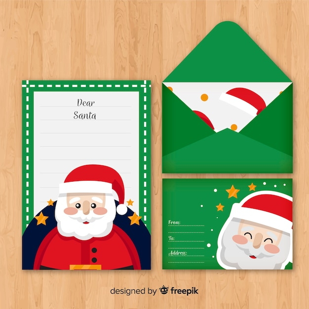 christmas letter and envelope with santa vector free download