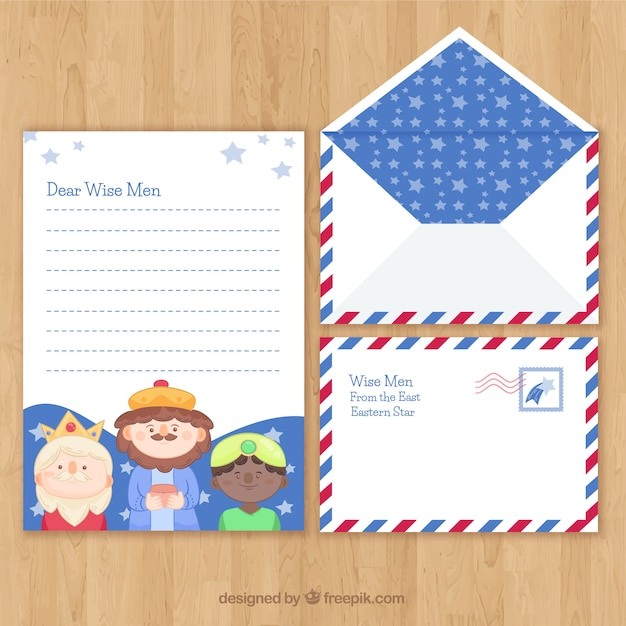 Christmas letter and envelope template with children Free Vector