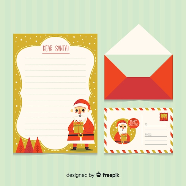 Christmas letter and envelope Free Vector