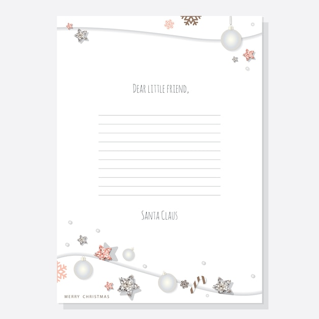 Premium Vector Christmas Letter From Santa Claus Template A4