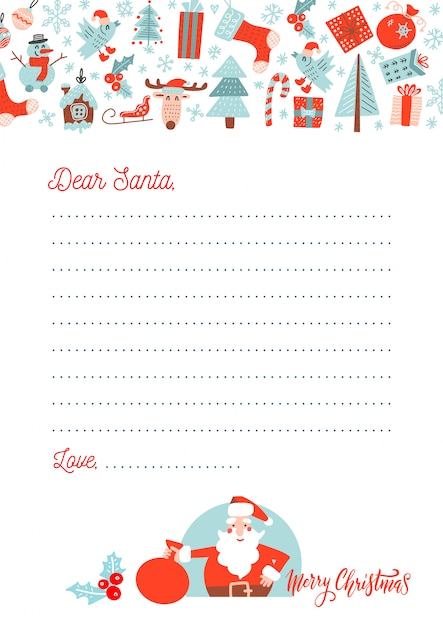 Christmas letter to santa claus Premium Vector