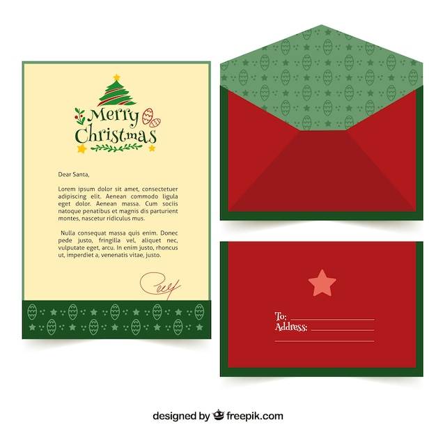 Download Vector Green Template Of A Christmas Letter Vectorpicker