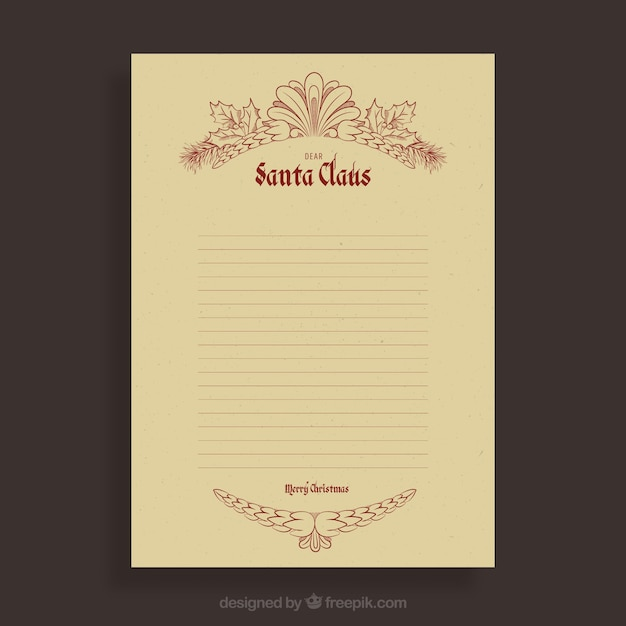 letter template vintage  Christmas letter template in retro style Vector | Free Download