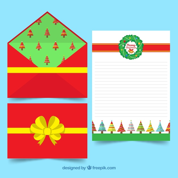 Christmas Letter Template With A Red Envelope Decorated As A Gift