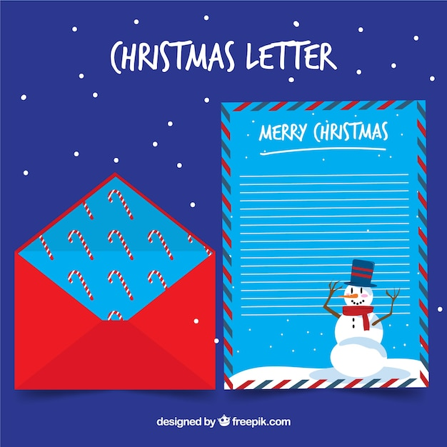Christmas letter template with a snowman and a red envelope