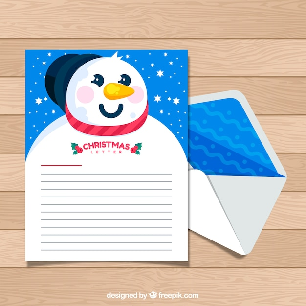 Christmas Letter Template With A Snowman Vector Free Download