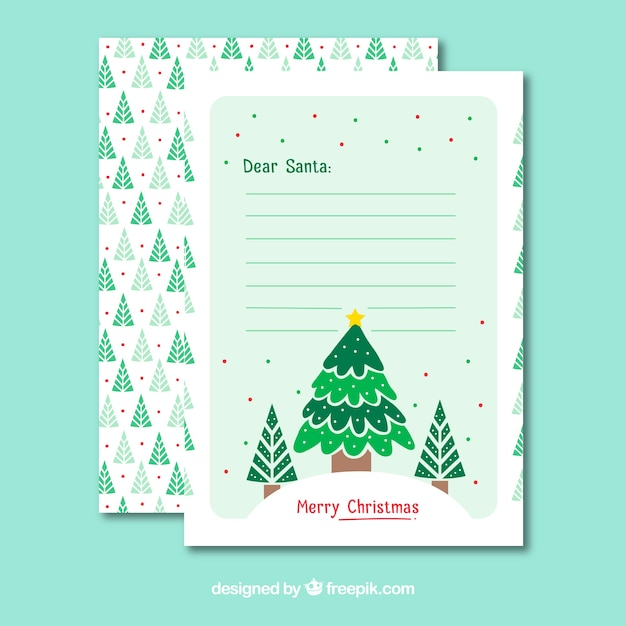 christmas letter template with christmas tree free vector