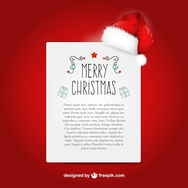 Christmas Letter Template With Santa Claus Hat Vector  Free Download